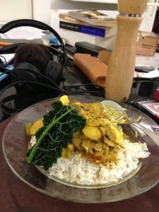 Goan cod cheek curry on rice. With an artfully placed bit of cavolo nero !