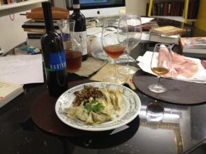 Antipasti with Radikon's orange wine