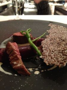 Deer with hay-roasted beets, watercress, and linseed cracker (art reference anyone?)