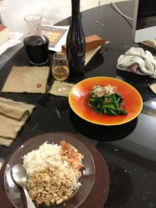 Dinner. Coasters, incidentally, from a design store in Meguro (Tokyo).  CH via JP.