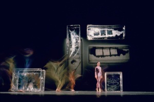 "Dance performance, with sets by Johns based on Duchamp's ""Bride..."""