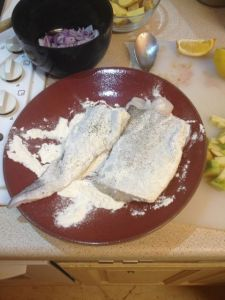 Flour, salt, pepper the hake