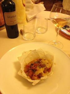La Subida's food and Castellada's orange wine