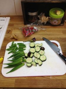 Veg for the curry.  Long aubergines best...