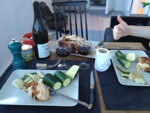 Another tea in the panier - chicken from Noaille's halal butchers, wine from Les Buvards