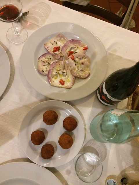 At San Giorgio e Il Drago: the lovely aubergines of the area, marinated with chili; little fried 'meatballs' of potato. With