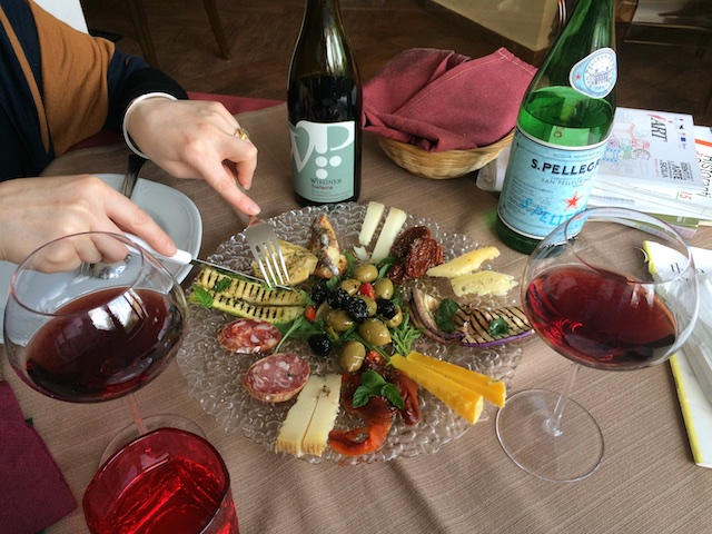 The fabulous antipasto dish at Cave Ox, with the Wiegner Triterre wine.